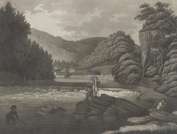 View of a fall on the Dee, near the Vale of Crucis